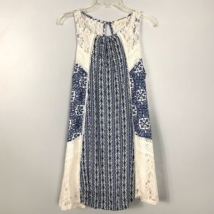 Hint of Mint Blue White Lace Dress Size M